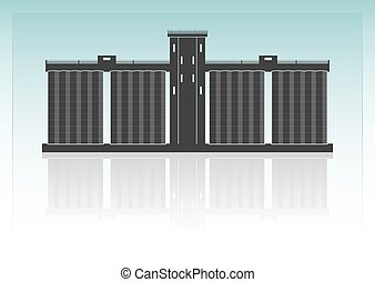 Grain elevator. Isolated on background. Vector illustration.