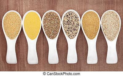 Grain Food - Grain food selection in white china porcelain...