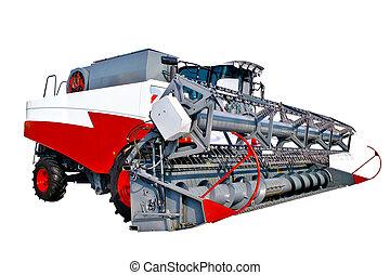 Modern grain harvester combine isolated over white
