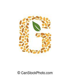 grain, lettre g, icône