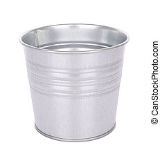 Grain metal bucket on white background.