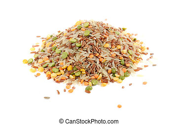 Grain Mix (Red Rice, Parboiled Rice, Split Peas and Lentils) Isolated on White Background