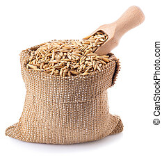 grain oats in bag with a wooden scoop isolate