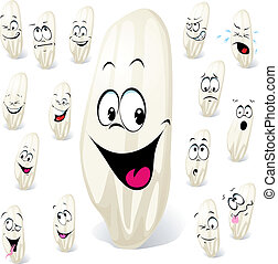 grain of rice cartoon with many expressions isolated on...