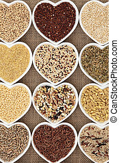 Grain Selection - Grain selection in heart shaped dishes...