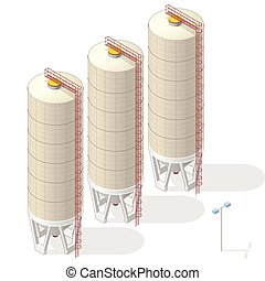 Grain silo isometric building info graphic, big ochre seed elevator on white background. Illustration of agriculture, farming, husbandry. Flatten isolated master vector.