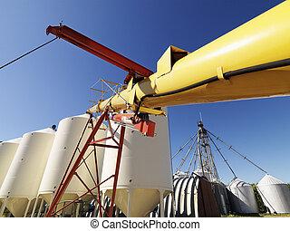 Grain silo storage. - Metal grain storage silo facility...