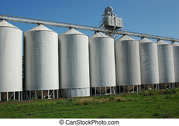 GRAIN SILOS - row of grain silos waiting for the wheat...