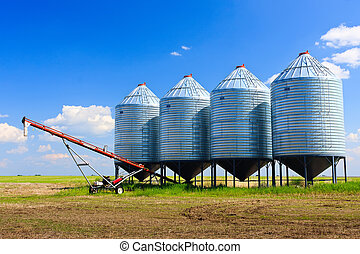 Grain Silos - Steel grain silos used to store grain.