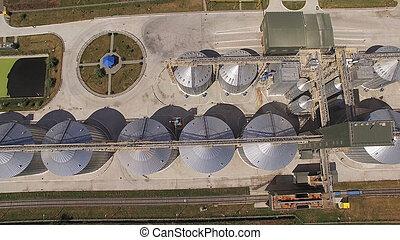 grain, sommet, réservoirs, stockage, vue.