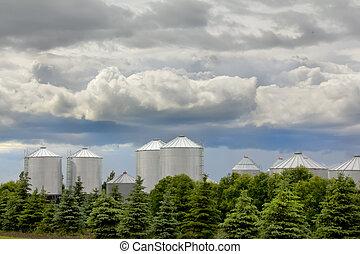 Grain storage bins in rural Saskatchewan