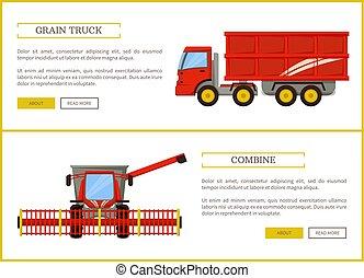 Grain Truck and Combine Set Vector Illustration