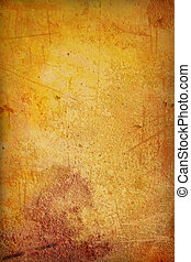 Grain yellow / brown paint wall background or vintage ...