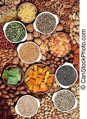 graine, fruit, collection, séché, écrou