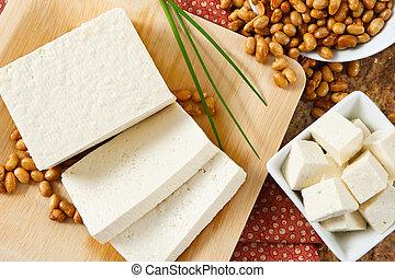 graines soja, tofu