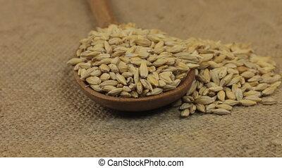 grains, burlap., tourner, débordement, cuillère, mensonge, ...