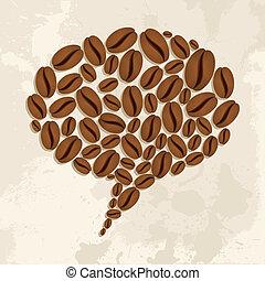 grains café, bulle, bavarder, concept
