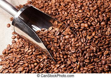 grains café, burlap sac