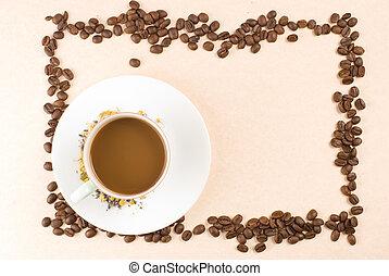 grains café, cadre