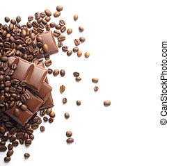 grains café, chocolat blanc