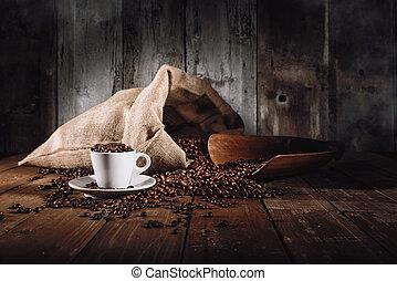 grains café, fond, tasse