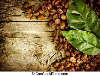 grains café, sur, bois, fond