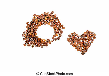 grains coffee hearts on a white background