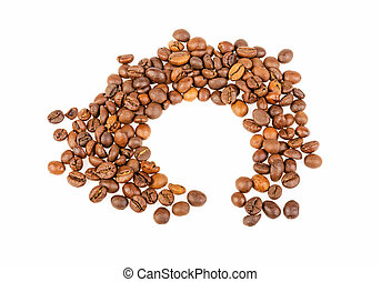 grains coffee trail from a cup on a white background