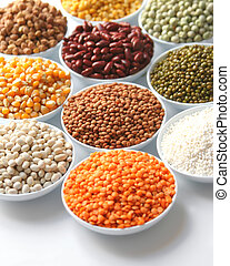 Grains - Display of food grains in white bowls