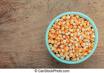 grains, mûre, maïs, bol, teak, bois, fond