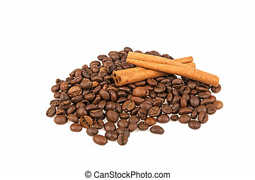 grains of coffee and cinnamon stick on a white background