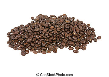 grains of roasted coffee on a white background