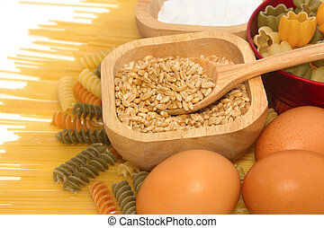 Grains of Wheat with pasta and food ingredient