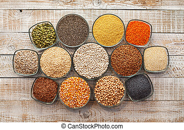 Grains, seeds and nuts collection - the gluten free alternatives