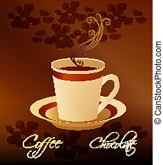 grains, tasse, café, chaud