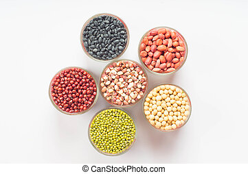 Grains - variety of beans filled the cup.
