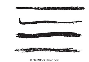 Grainy chalk brush set. Detailed coal design template. Distressed grunge element. EPS10 vector.