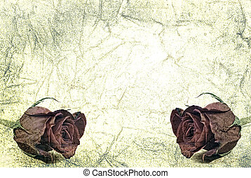 Grainy distressed paper background with tea roses.