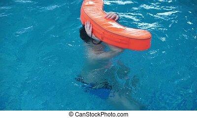graisse, garçon, piscine, nage, float.