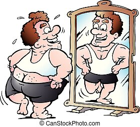 graisse, illustration, dessin animé, vecteur, regarde, homme, pense, il