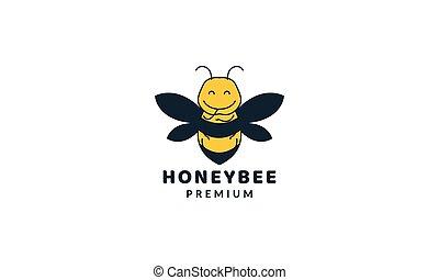 graisse, illustration, miel, logo, abeille, coloré, vecteur, mignon, dessin animé, conception