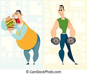 graisse, sportif, homme