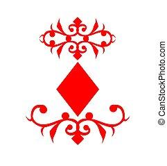 grając kartę, symbol, dzwonek