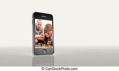 grając szachy, magnetowidy, rodzina