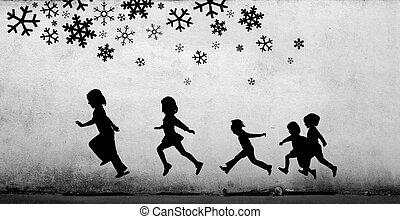 grający dziećmi, poniżej, śnieg