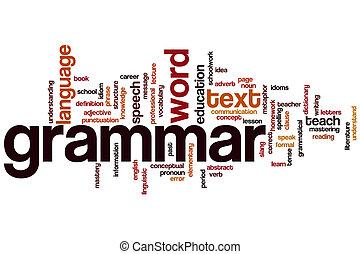 gramática, palavra, nuvem