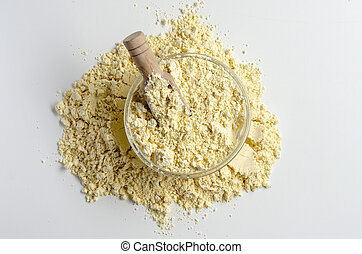 Gram flour made of chickpeas on white background