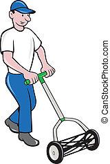 gramado, caricatura, jardineiro, mowing