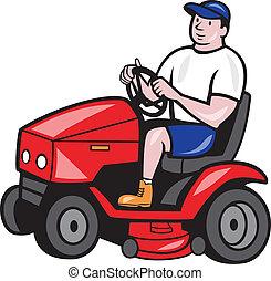 gramado corta, rideon, mower, caricatura, jardineiro