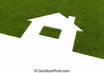 gramado, em, a, forma, de, casa